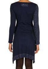 Robe à manches longues Bleue marine mi-cuisse avec col géométrique et imprimés Ella 301166