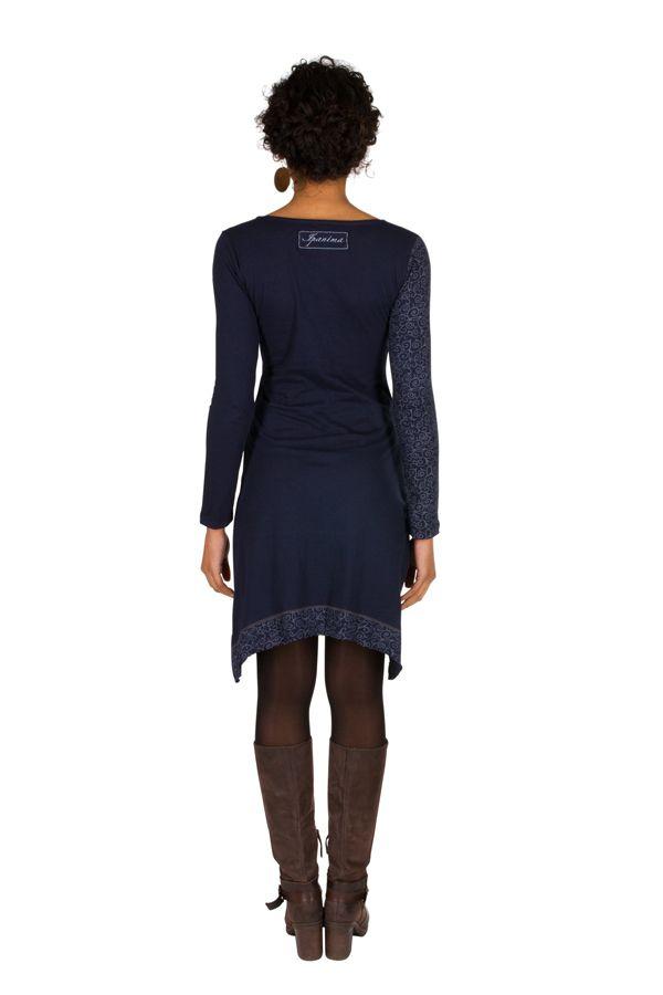 Robe à manches longues Bleue marine mi-cuisse avec col géométrique et imprimés Ella 301167