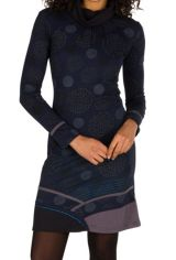 Robe à manches longues Bleue marine mi-cuisse imprimée et avec col roulé Dorine 301141