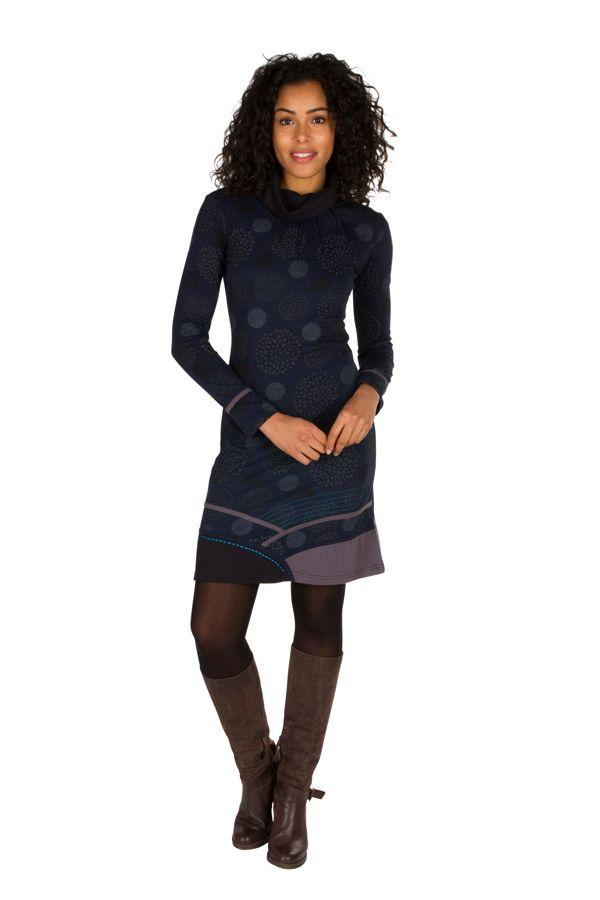 Robe à manches longues Bleue marine mi-cuisse imprimée et avec col roulé Dorine 301142