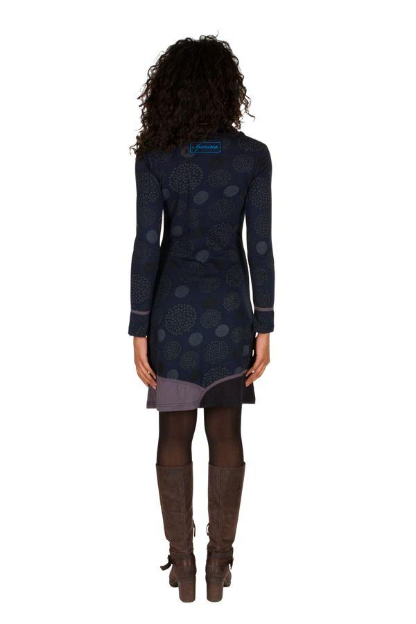 Robe à manches longues Bleue marine mi-cuisse imprimée et avec col roulé Dorine 301148