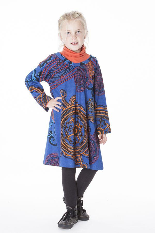 Robe à manches longues bleue pour les petites filles 287340