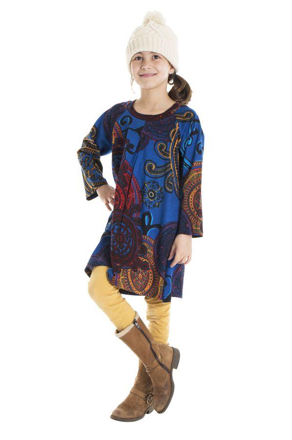 Robe à manches longues bleue pour les petites filles 302240