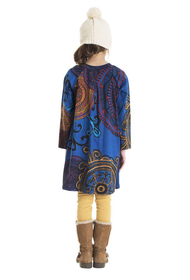 Robe à manches longues bleue pour les petites filles 302241