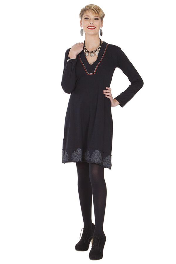 Robe à manches longues Chic et Ethnique Nourah Noire 285301