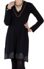 Robe à manches longues Chic et Ethnique Nourah Noire 286676