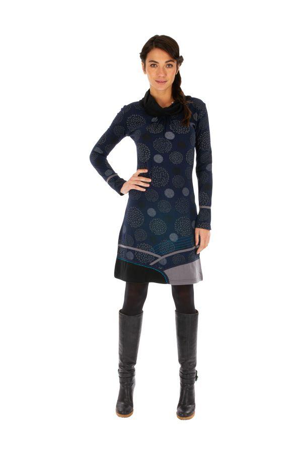 Robe à manches longues et col roulé original Minna Bleue 313417