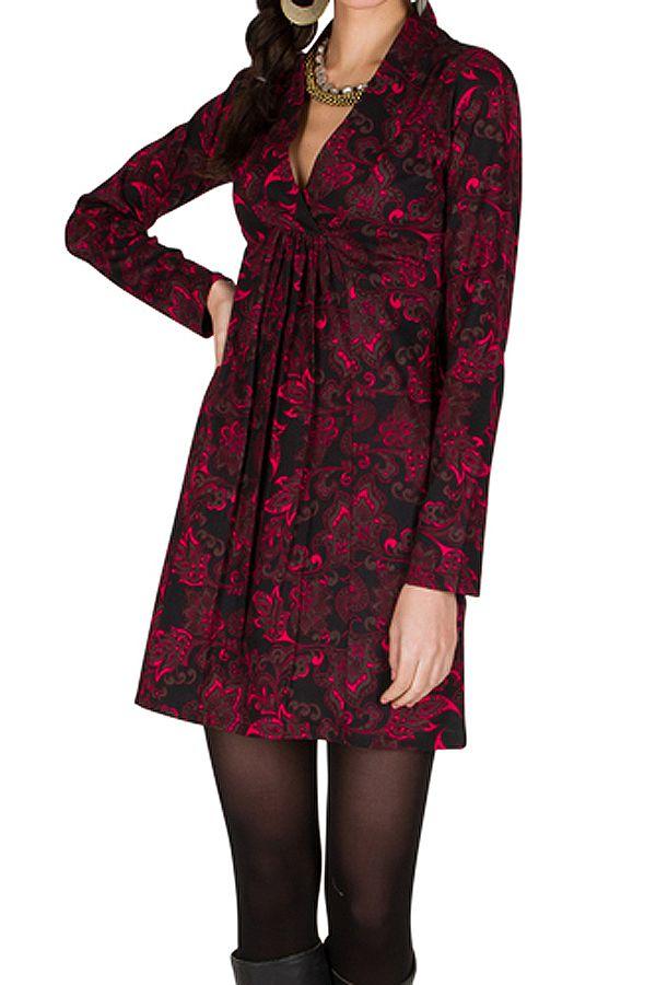 Robe à manches longues et col style cache-coeur drapé Orena 301009