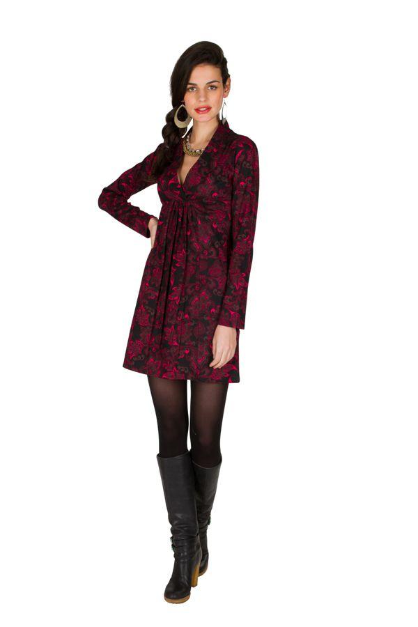 Robe à manches longues et col style cache-coeur drapé Orena 301010