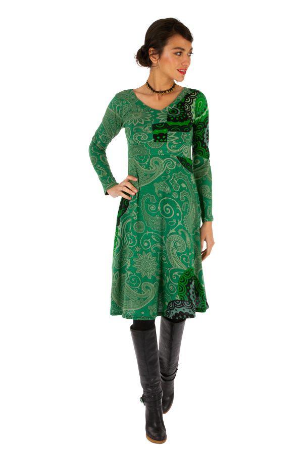 Robe à manches longues ethnique et colorée Anastasia 312653