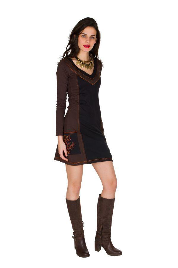 Robe à manches longues Marron avec col rond et poches Léonore 300803