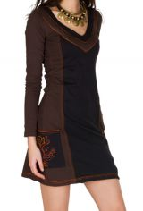 Robe à manches longues Marron avec col rond et poches Léonore 301130