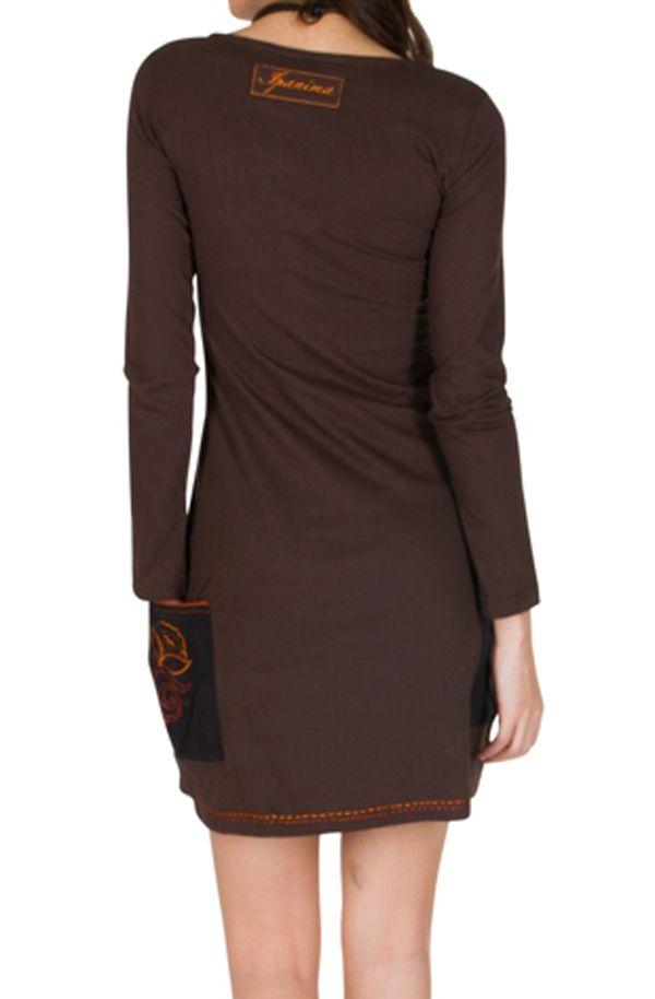 Robe à manches longues Marron avec col rond et poches Léonore 301132