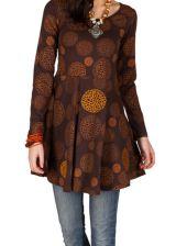 Robe à manches longues Marron imprimée avec col rond Hermione 300811
