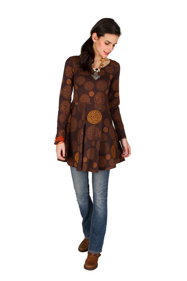 Robe à manches longues Marron imprimée avec col rond Hermione 300812