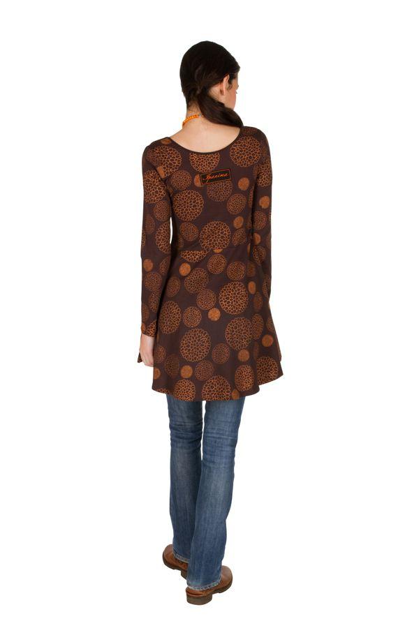 Robe à manches longues Marron imprimée avec col rond Hermione 300813