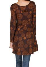 Robe à manches longues Marron imprimée avec col rond Hermione 300814