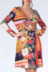 Robe à manches longues multicolore imprimée de fleurs Duney 304299