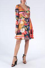 Robe à manches longues multicolore imprimée de fleurs Duney 304300