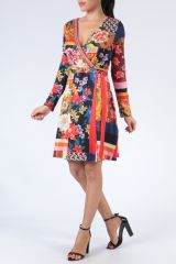 Robe à manches longues multicolore imprimée de fleurs Duney 304301