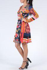 Robe à manches longues multicolore imprimée de fleurs Duney 304302
