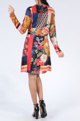 Robe à manches longues multicolore imprimée de fleurs Duney 304303