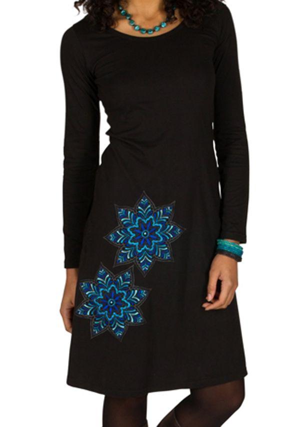 Robe à manches longues Noire à col rond et imprimés tendances Aida 300965