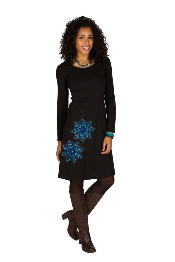 Robe à manches longues Noire à col rond et imprimés tendances Aida 300966