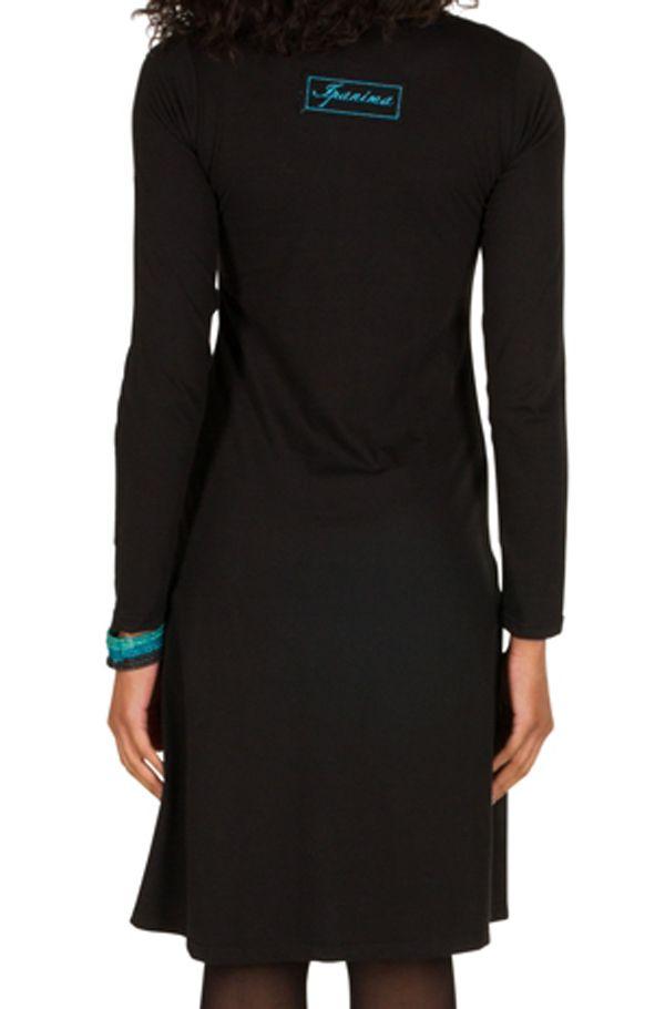 Robe à manches longues Noire à col rond et imprimés tendances Aida 300967