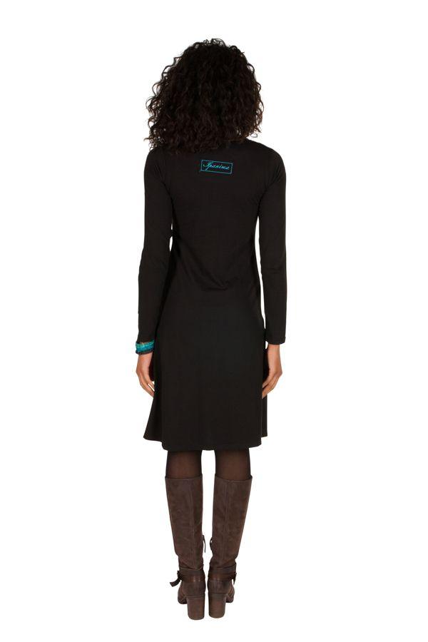 Robe à manches longues Noire à col rond et imprimés tendances Aida