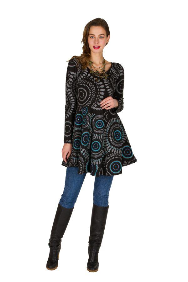 Robe à manches longues Noire évasée et imprimée Izïa 300840
