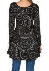 Robe à manches longues Noire évasée et imprimée Izïa 300842
