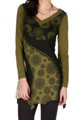 Robe à manches longues originale et coupe asymétrique tendance avec imprimés Mia 300927