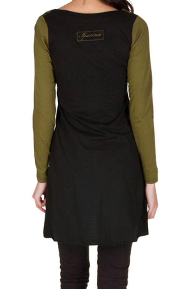 Robe à manches longues originale et coupe asymétrique tendance avec imprimés Mia 300930