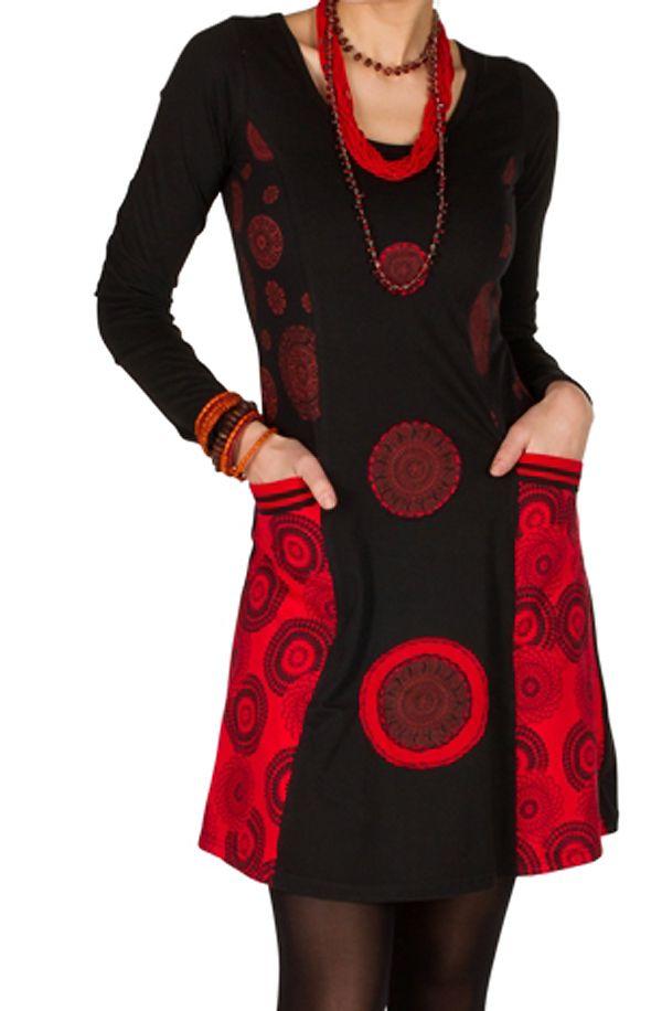 Robe à manches longues Rouge avec broderies et col rond Tessa 300827