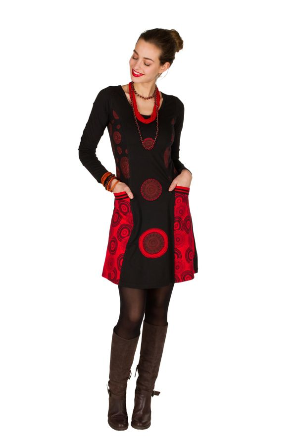 Robe à manches longues Rouge avec broderies et col rond Tessa 300828