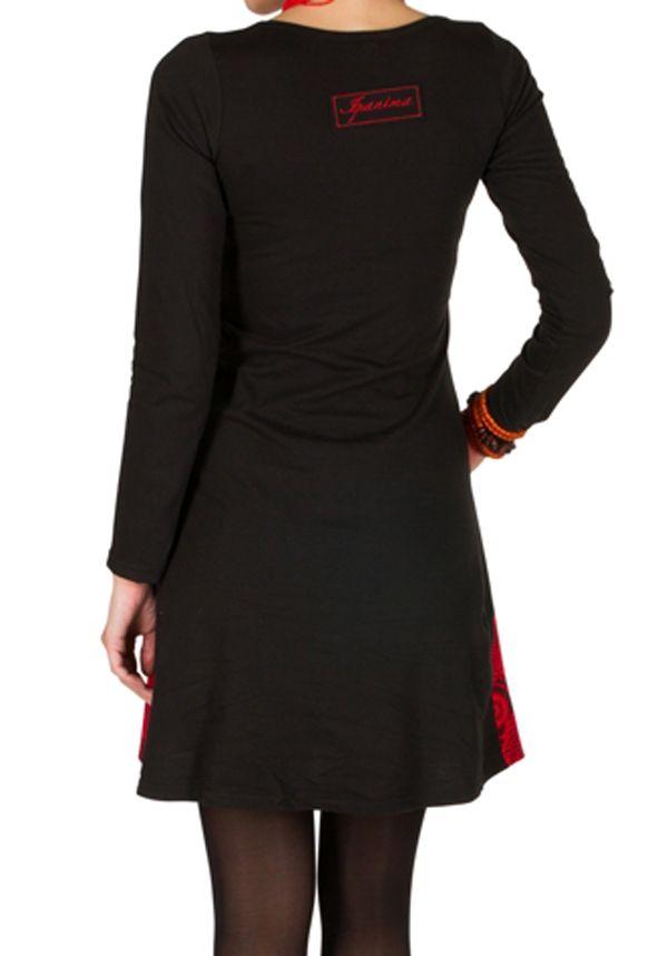 Robe à manches longues Rouge avec broderies et col rond Tessa 300829