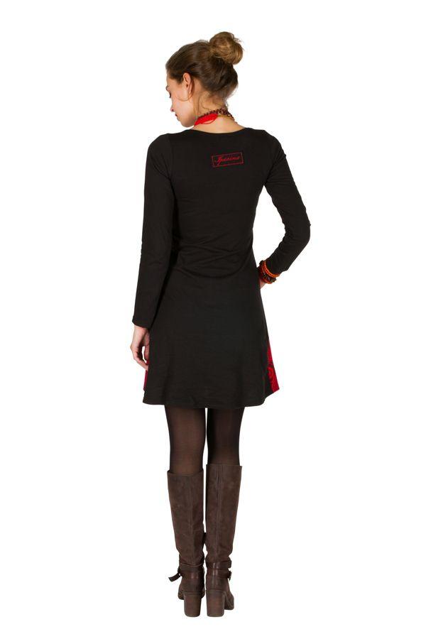 Robe à manches longues Rouge avec broderies et col rond Tessa 300830