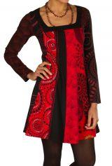 Robe à manches longues Rouge mi-cuisse avec imprimés originaux Sofia 300851