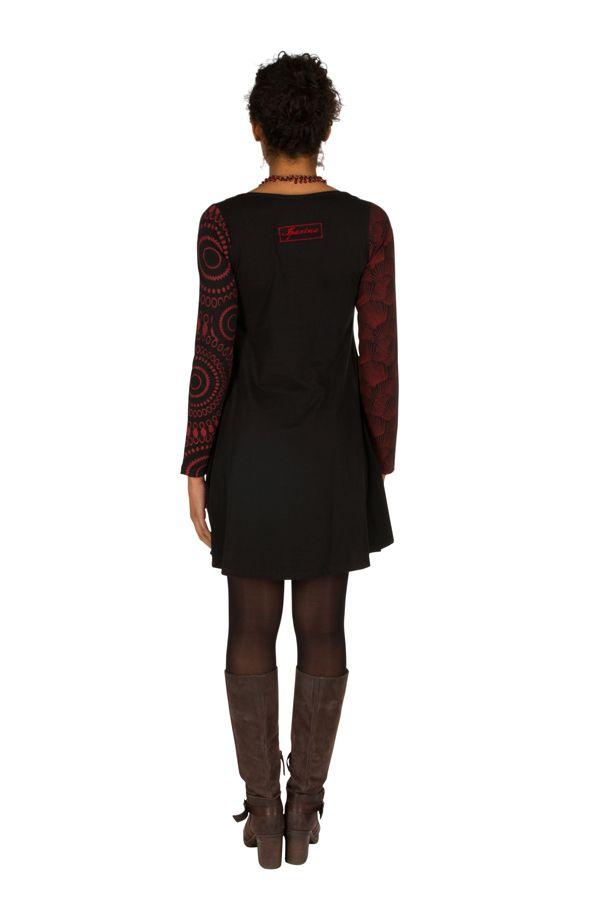 Robe à manches longues Rouge mi-cuisse avec imprimés originaux Sofia 300856