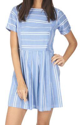 Robe à rayures horizontales et verticales sur fond bleu pastel Belinda 316932