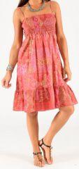 Robe à smock et fines bretelles Originale et Colorée Zalou Rose 279457