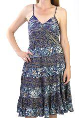 robe a volants et fines bretelles avec imprimés style indien Neonila 290991