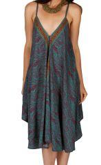 Robe ample pour femme originale et bohème Bansang bleue 314629