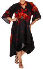 Robe asymétrique et originale noire en grande taille Asma 309786