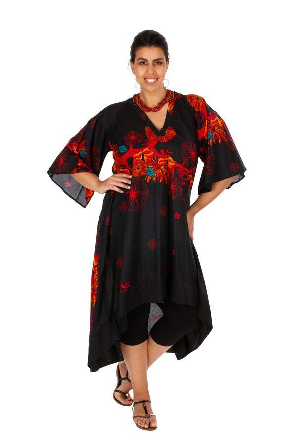 Robe asymétrique et originale noire en grande taille Asma 309787