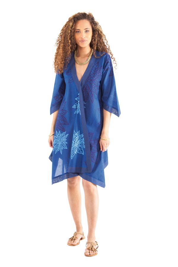 Robe Asymétrique forme Kimono Originale et Ethnique Kashia Bleue 281969