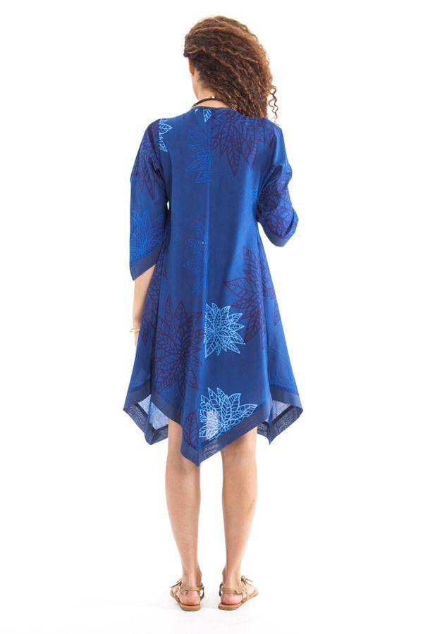 Robe Asymétrique forme Kimono Originale et Ethnique Kashia Bleue 281970