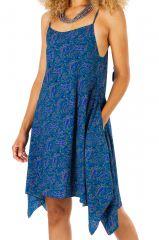 Robe asymétrique imprimée bleue look décontracté Katy