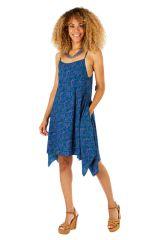 Robe asymétrique imprimée bleue look décontracté Katy 307029